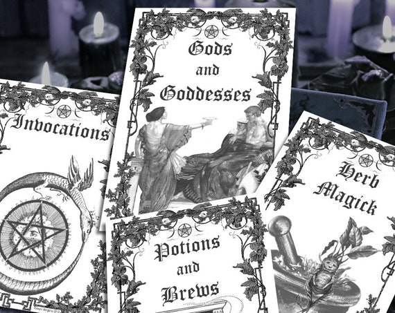 4 BOOK of SHADOWS Divider Pages, Set 3 of 4 Black and White