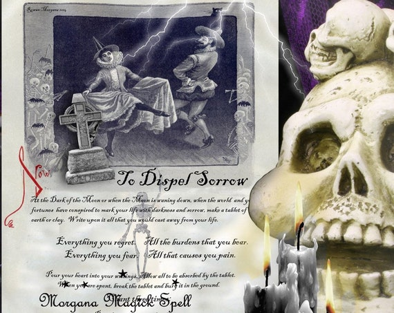 DISPEL SORROW SPELL for Book of Shadows, Witchcraft Grimoire  1 Page - Instant Download