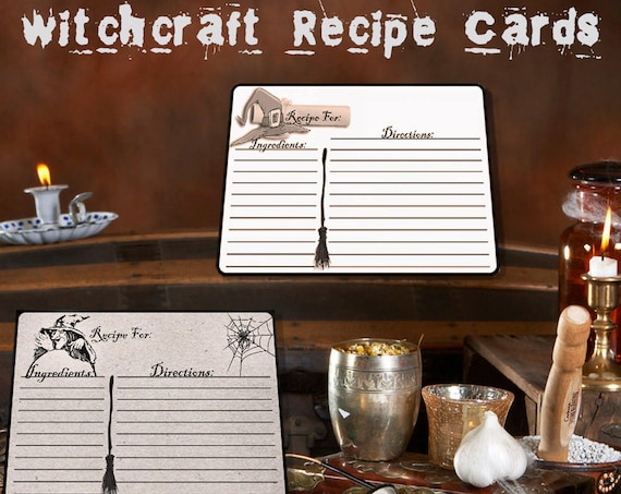WITCHCRAFT RECIPE CARDS Set of 2   Printable instant download