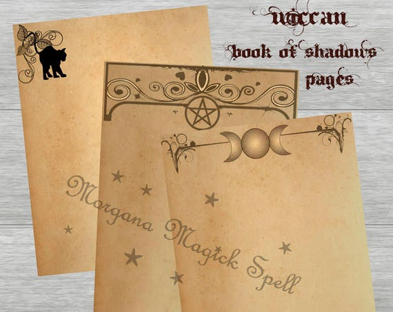 Tea Stained 3 Blank Book of Shadows Pages Moon, Cat & Pentacle