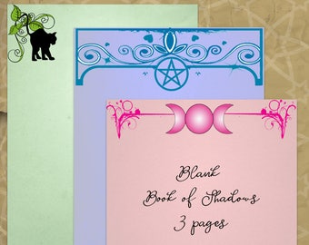 MOON, CAT, and PENTACLE Book of Shadows Pages Digital Download, Witch, Wicca, Witchcraft   Grimoire, Scrapbook, Spells, Magick, Occult,