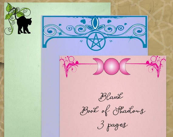 Moon, Cat & Pentacle 3 Blank Colored Pages for  Book of Shadows
