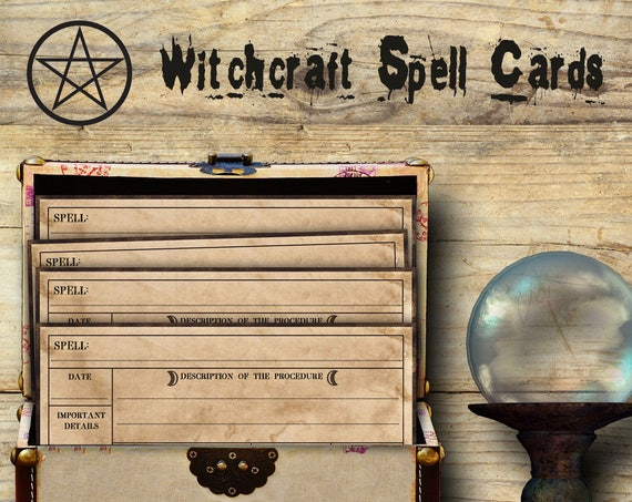 WITCHCRAFT SPELL CARDS - Spell Cards, Apothecary, Magick Potion, Ingredient Labels, Herb Labels, Digital Collage Sheets, Wicca, Witchcraft,