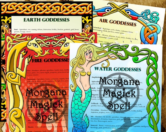 Element Goddesses of Earth, Air, Fire & Water