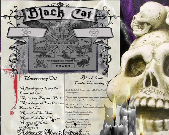 BLACK CAT UNCROSSING Spell for Book of Shadows  - Instant Download