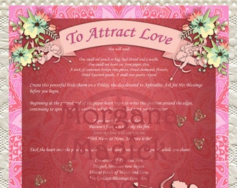 ATTRACT LOVE CHARM Bag,  Digital Download, White Magick, Love Spell, Wicca, Book of Shadows Page, Grimoire, Scrapbook, Spells