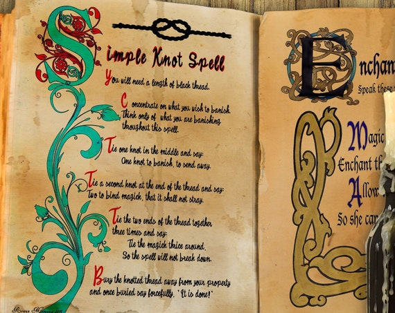 "SIMPLE KNOT SPELL  ""Charmed Style"" for  Book of Shadows - Instant Download"