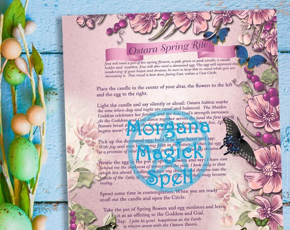 OSTARA SPRING RITE - Instant  Download and Print for your Book of Shadows