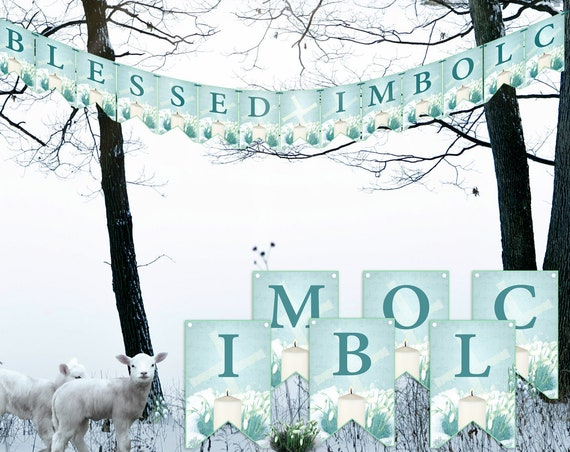BLESSED IMBOLC  BANNER, Printable Bunting  - Instant Download