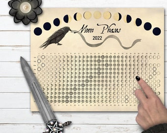 2022 MOON CALENDAR | Crow Moon Printable | Lunar Phase Calendar | Lunar Cycle Calendar | Lunar Moon Phase Chart | Moon Diary Insert