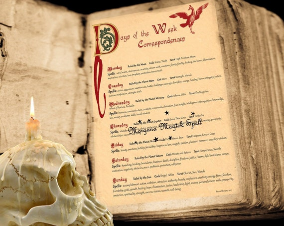 WEEKDAY CORRESPONDENCES -  Book of Shadows Instant Download