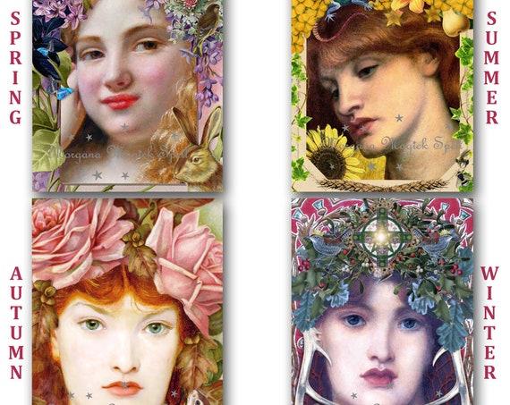 GODDESS ALTAR CARDS -  Four Seasons   Instant Download