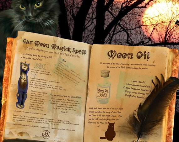 Cat Moon Magick Spell - 2 Pages