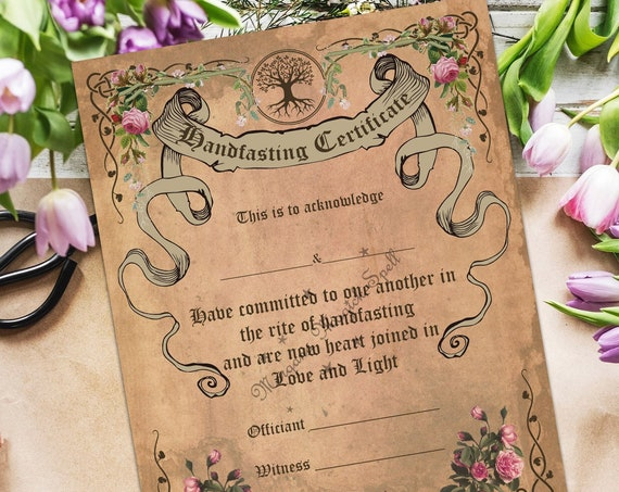 HANDFASTING CERTIFICATE - Printable -      Instant Download