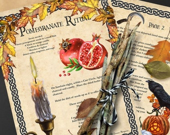 SAMHAIN POMEGRANATE RITUAL   2 pages Halloween Magic   Day of the Dead   Wicca Sabbat Spell   Witch's New Year Ritual   Instant Download