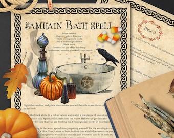 SAMHAIN  BATH SPELL   Samhain Ritual Bath 2 pages   Halloween Bathing Spell    Enchanted Bathing   High Priestess Ritual   Instant Download