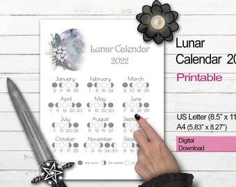 2022 MOON CALENDAR | Floral Moon Printable | Lunar Phase Calendar | Lunar Cycle Calendar | Lunar Moon Phase Chart | Moon Diary Insert
