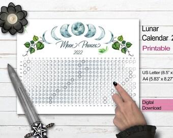 2022 MOON CALENDAR | Blue Moon Printable | Lunar Phase Calendar | Lunar Cycle Calendar | Lunar Moon Phase Chart | Moon Diary Insert