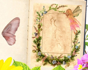 FAERIE  Blank Book of Shadows Page,  Digital Download,Grimoire,Scrapbook, Spells, Magick,Wicca, Pagan,Witchcraft, WhiteMagick