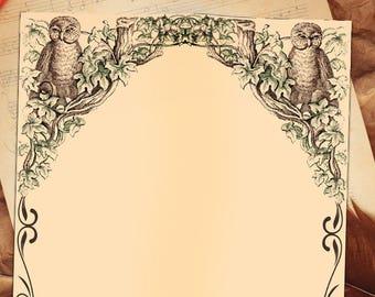 OWLS Blank Page, Digital Download, Blank Book of Shadows Grimoire, Scrapbook, Spells