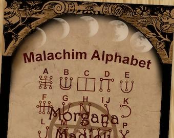 THE MALACHIM ALPHABET Secret Script Digital Download, White Magick  Wicca, Book of Shadows Page,Wicca, Grimoire, Scrapbook, Magick,Spells