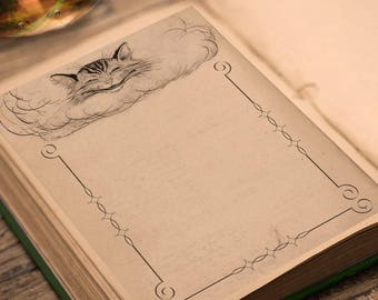 CHESHIRE CAT Blank Page, Digital Download, Blank Book of Shadows,  Scrapbook, Spells, Magick, Wicca, Pagan, Witchcraft, White Magick