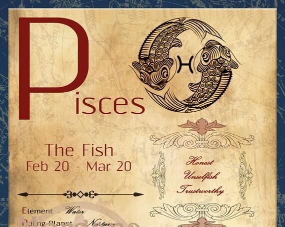 PISCES  ZODIAC, Digital Download