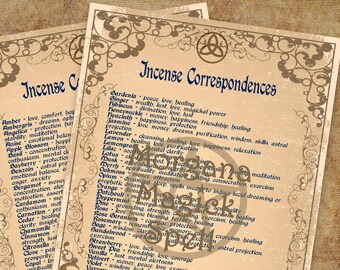 INCENSE CORRESPONDENCES , Digital Download, Book of Shadows Grimoire, Scrapbook,  Wicca, Pagan, Witchcraft, White Magick, Magick Spell