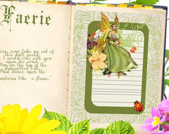 FAERIE JOURNAL Blank Book of Shadows Page,  Digital Download,Grimoire,Scrapbook, Spells, Magick,Wicca, Pagan,Witchcraft, WhiteMagick