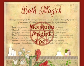 BATH MAGICK,Essential Oils Digital Download, Book of Shadows Page, Grimoire, Scrapbook, Wicca, Pagan, Witchcraft, White Magick, Magick Spell