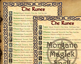 THE RUNES , Digital Download, Book of Shadows Grimoire, Scrapbook,  Wicca, Pagan, Witchcraft, White Magick, Magick Spell