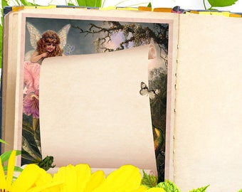FAERIE GARDEN JOURNAL Blank Book of Shadows Page,  Digital Download,Grimoire,Scrapbook, Spells, Magick,Wicca, Pagan,Witchcraft, WhiteMagick