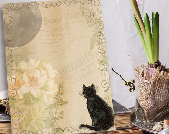 Cat and Moon Blank Book of Shadows Page