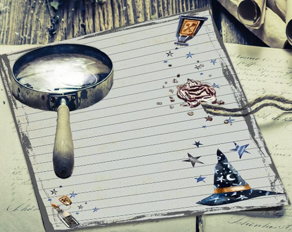 Witch Hat and Potion Blank Lined Page for Book of Shadows
