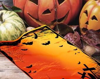 GRAVEYARD & BATS HALLOWEEN Book of Shadows Blank Page, Digital Download,Samhain, Grimoire, Scrapbook, Spells,Magick, Wicca, Pagan,Witchcraft