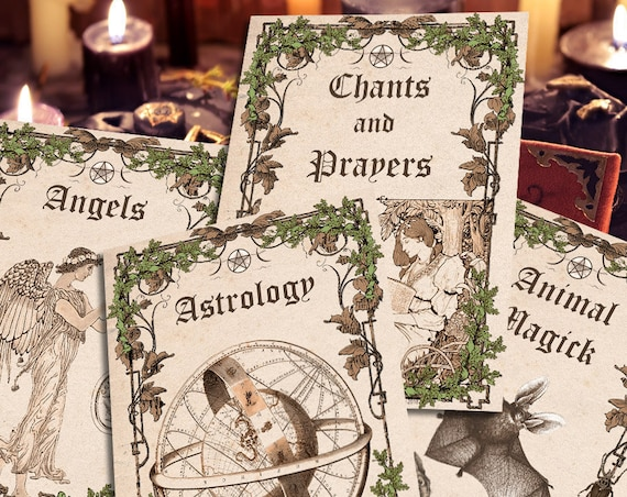 4 BOOK of SHADOWS Divider Pages, Set 1 of 4