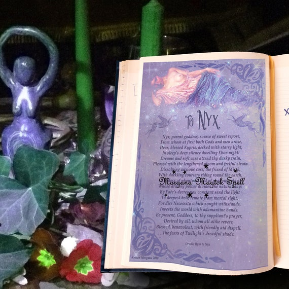 GODDESS NYX INVOCATION - Witchcraft Book of Shadows Page - Instant Download
