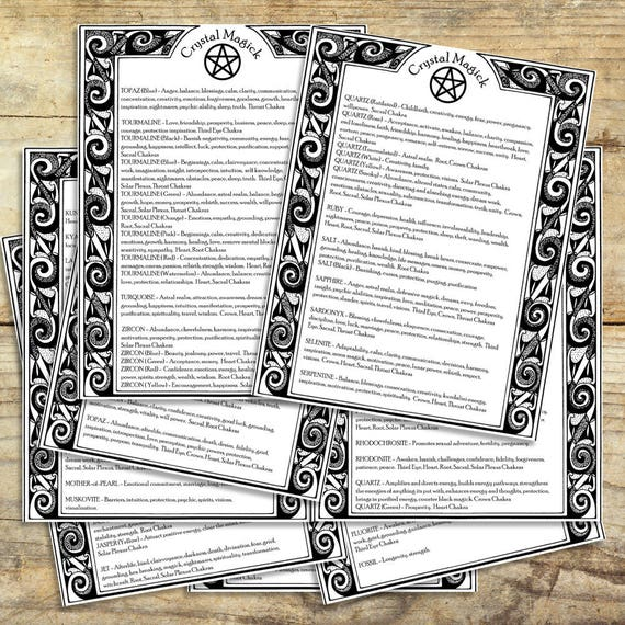 Crystal Magick Correspondences 9 pages