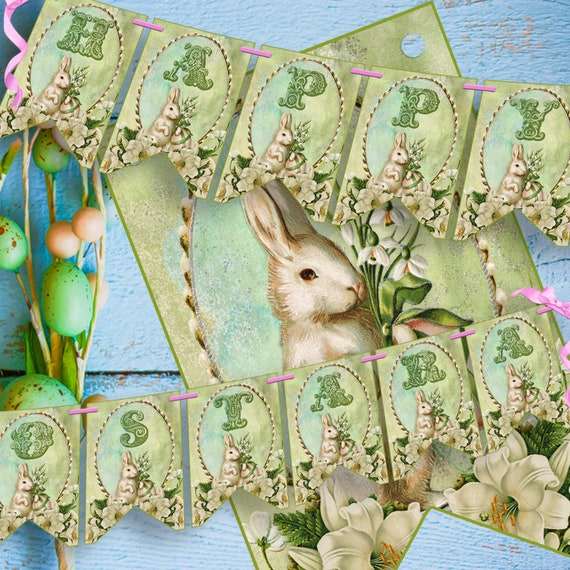 HAPPY OSTARA  BANNER, Printable Bunting  - Instant Download
