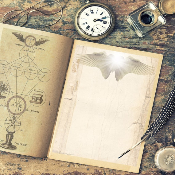 ANGEL WINGS BLANK Page  for Book of Shadows - Instant Download