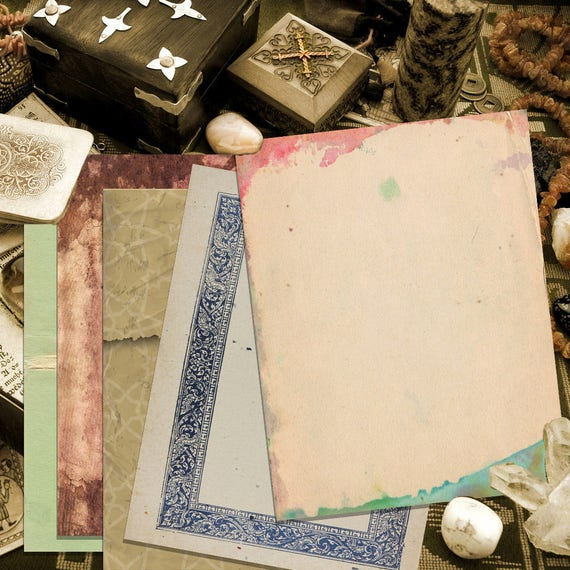 Vintage Papers 5  Book of Shadows Pages