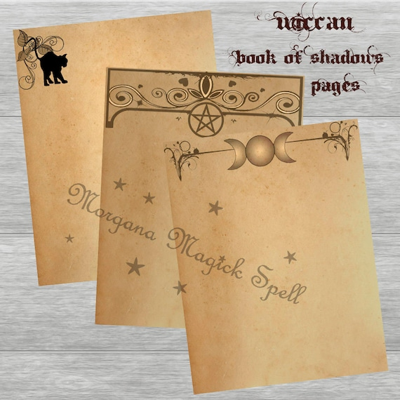 Vintage TEA STAINED PAPER Moon, Cat & Pentacle  Blank Book of Shadows Pages