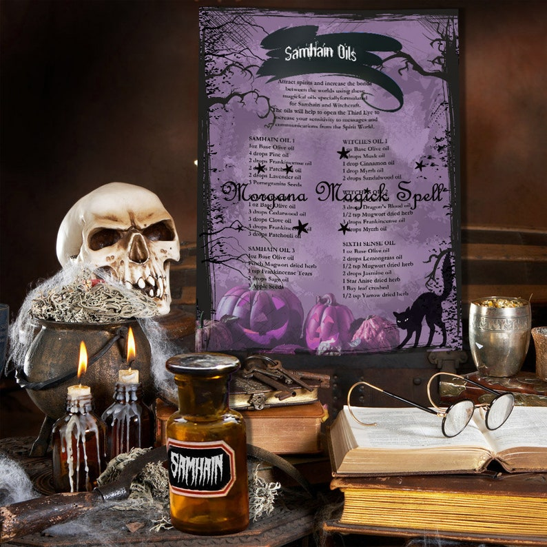 SAMHAIN MAGICK OILS Recipes - for Book of Shadows 1 Page - Instant Download