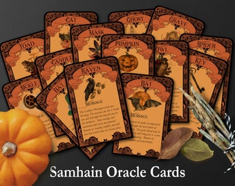 SAMHAIN ORACLE CARDS   Tarot Cards to Print at Home   Samhain Tarot Reading   Halloween Tarot Printable   Halloween Activity Party Favors