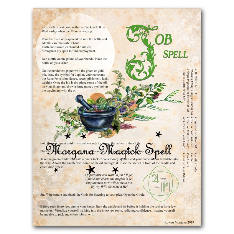 JOB SPELL to Get a Job - Instant Download