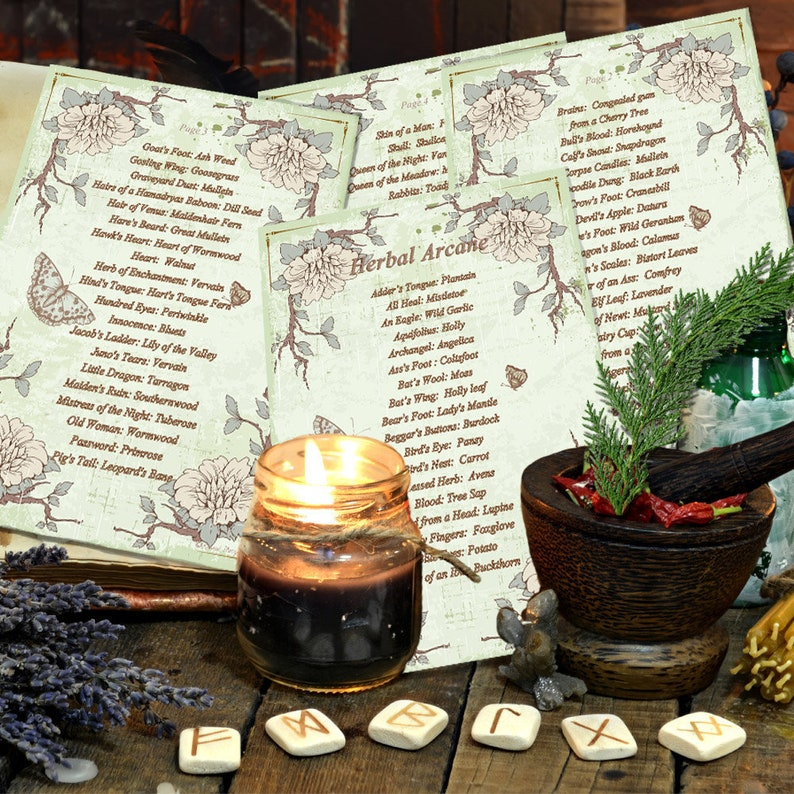 The HERBAL ARCANE - Ye Olde Names for Common Herbs 4 PAGES - Instant  Download