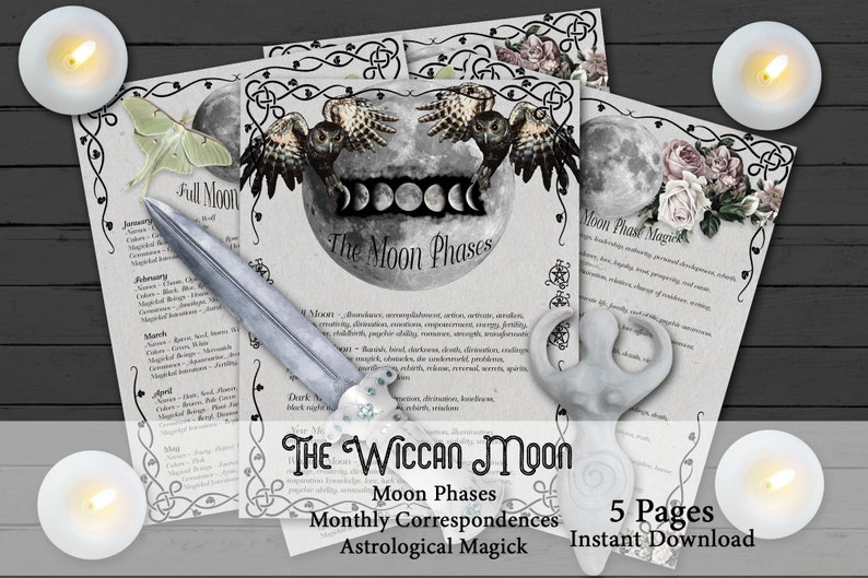 WICCAN MOON Correspondences  5 Pages  Full Moon Names  Moon image 0