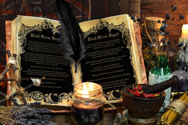 BLACK MIRROR  Magick and Scrying  2 Pages  Mirror image 0