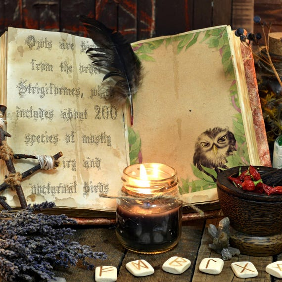 Little Owl Blank Book of Shadows Page