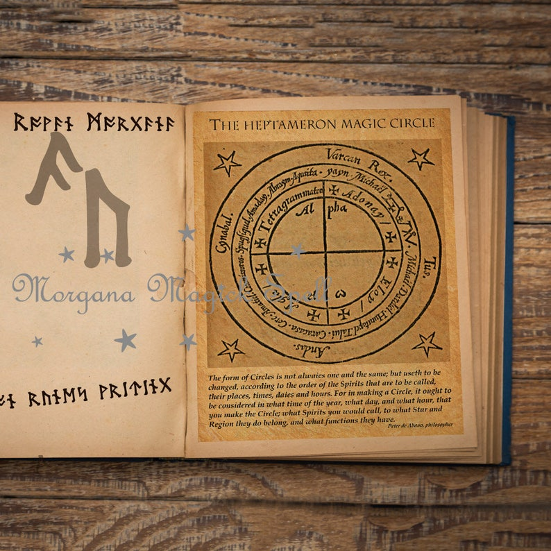 HEPTAMERON MAGICK CIRCLE Ancient Occult Parchment - Instant Download